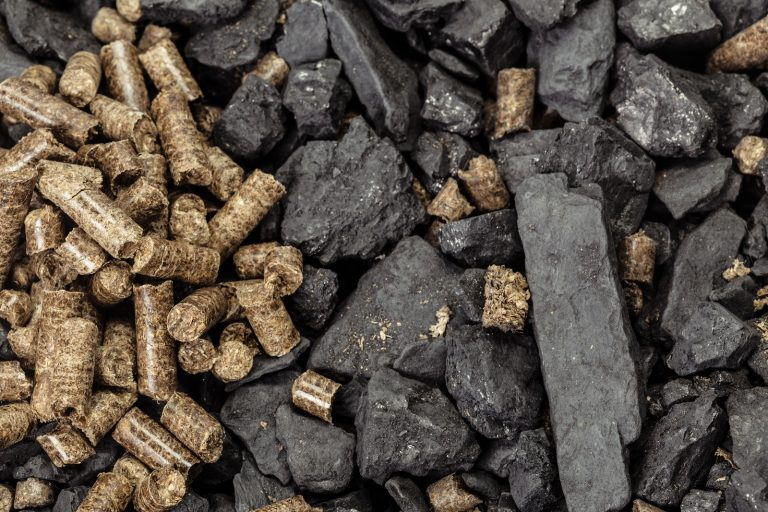 Waste pellets and coal