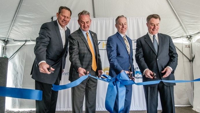 Landmark RNG facility open: (left to right) South Side Landfill's Joel Zylstra, EDL Head of North American Operations Central Region Jim Grant, Kinetrex Energy President and CEO Aaron Johnson and Indianapolis Mayor Joe Hogsett