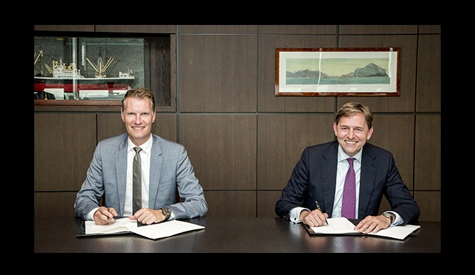 Soren Toft, CEO MSC, and Huibert Vigeveno, downstream director, Royal Dutch Shell