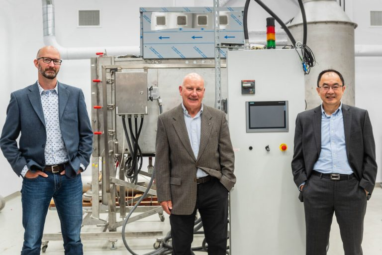 Dr Pat Kirchen, Dr Jack Saddler, and Dr Xiaotao Bi, director of the new Biorefining Research & Innovation Centre